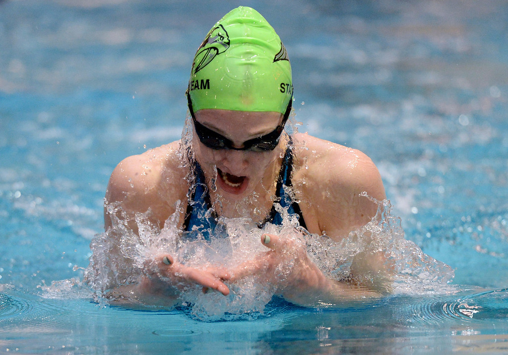 . THORNTON, CO. - FEBRUARY 15, 2014: Bailey Kovac of Fossil Ridge High School came up for air during her 100-yard breastroke win Saturday. The CHSAA 5A Girl\'s State Swimming Championships wrapped up Saturday night February 14, 2104.  Photo By Karl Gehring/The Denver Post
