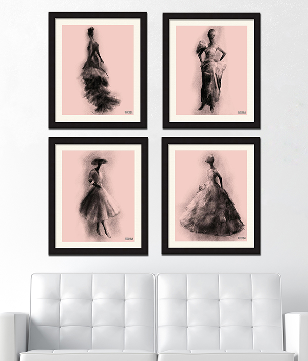 Blush pink and black fashion art print set over the sofa - Beverly Brown Artist - beverlybrown.com