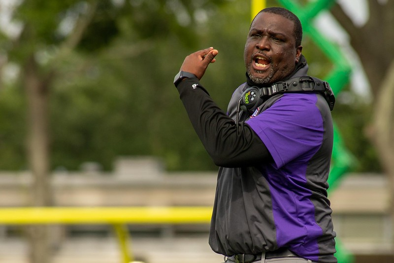 Edward Waters University football coach Toriano Morgan is in disbelief following a holding call in the red zone during the second quarter of an April 28, 2021 football game against Florida Memorial. The Tigers won 24-20 courtesy of a touchdown with 16 seconds remaining. (Photo by Will Brown)