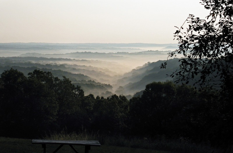 Leaving Brown County State Park, Indiana-- the top of an an early morning climb.