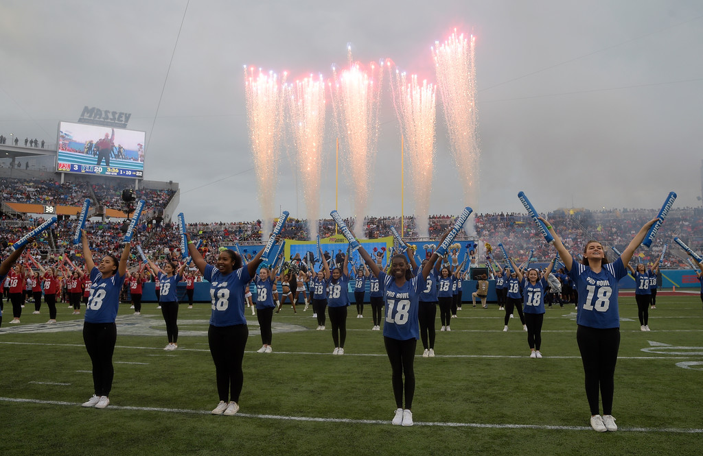 . Half time show participants during the half time show at the NFL Pro Bowl football game between the AFC and the NFC, Sunday, Jan. 28, 2018, in Orlando, Fla. (AP Photo/Phelan M. Ebenhack)