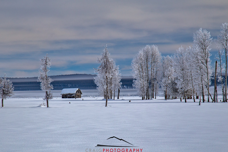 Cabin and snow, Klamath Valley, Oregon
