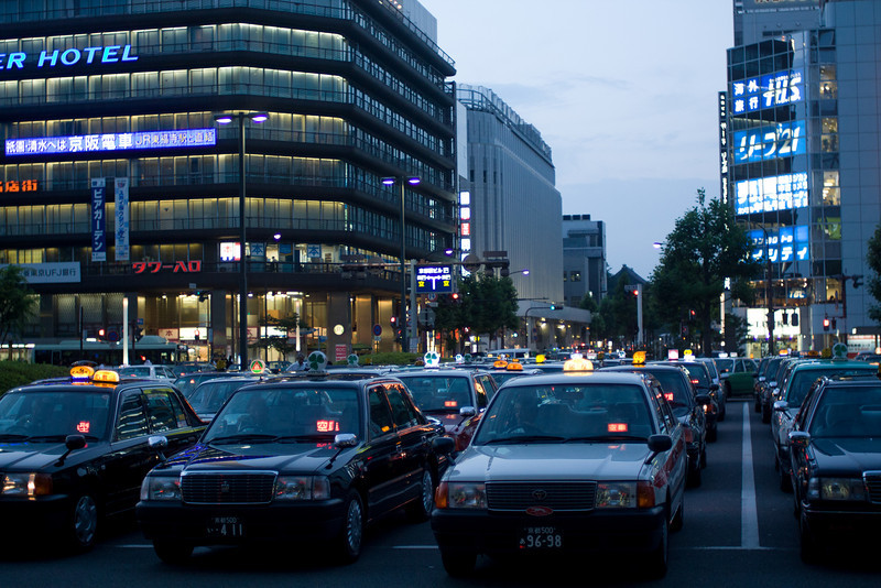 Ranks of taxis queue up outside Kyoto Station