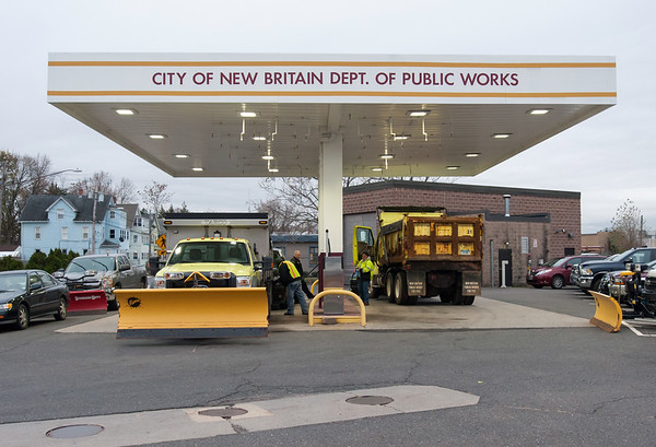 11/15/18 Wesley Bunnell | Staff New Britain Public Works trucks were being prepped and loaded with salt in anticipation of the upcoming winter storm schedule to hit New England Thursday evening into Friday. City vehicles fill up with gas for the upcoming storm.