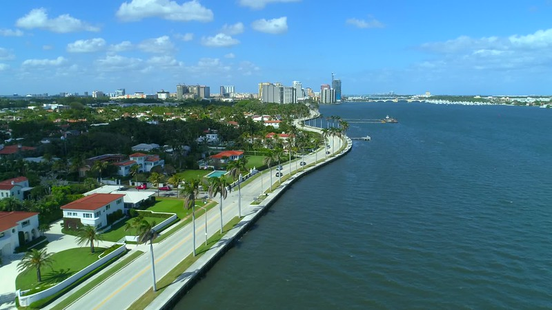 Aerial waterfront homes Palm Beach County Florida