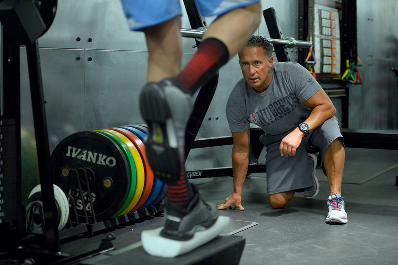 . Denver Nuggets assistant coach/strength and conditioning Steve Hess carefully monitors Danilo Gallinari as he goes through a rigorous workout May 27, 2014 at Pepsi Center. (Photo by John Leyba/The Denver Post)