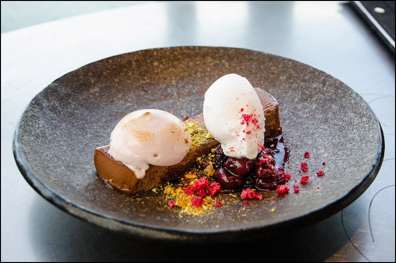 Chocolate marque, berry marshmallow, sour cherries, coconut ($12)