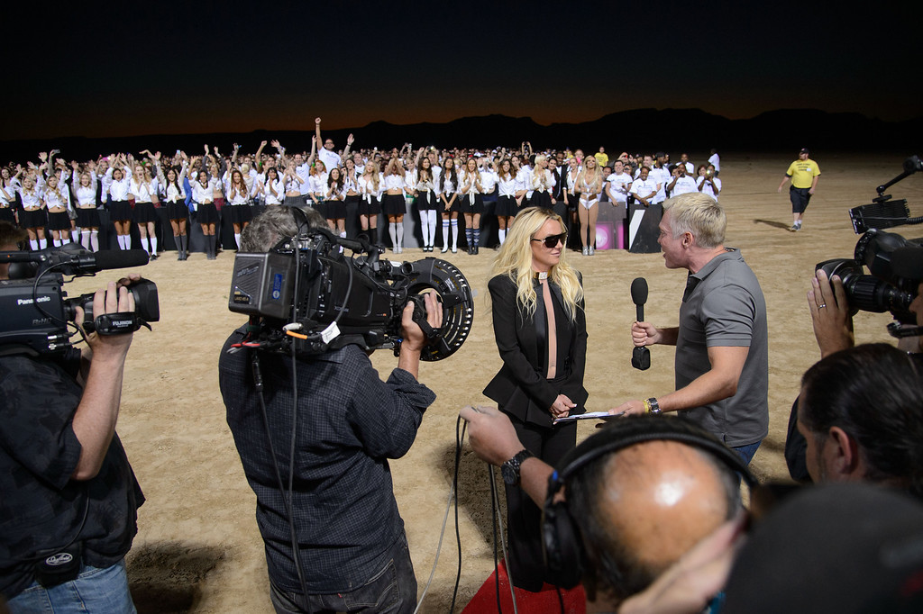 . Britney Spears announces her new show at Planet Hollywood Vegas to Sam Champion during the taping of Good Morning America on Tuesday, Sept. 17, 2013 in Las Vegas. (Photo by Al Powers/Invision/AP)