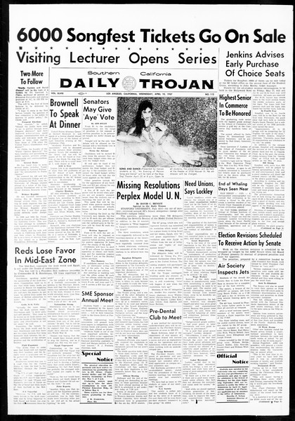 Daily Trojan, Vol. 48, No. 112, April 10, 1957