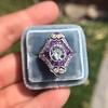 2.27ct (est) Art Deco Old European Cut Diamond with Amethyst Halo Ring 18