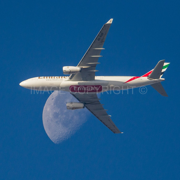 Emirates Airlines A-380 Crossing the Moon