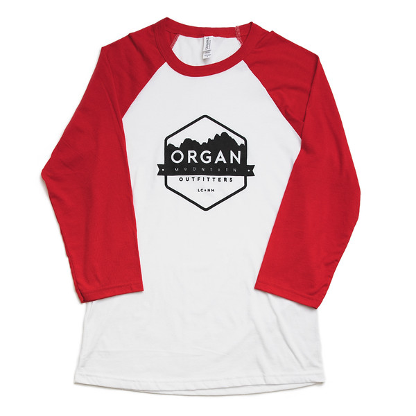 Organ Mountain Outfitters - Outdoor Apparel - T-Shirt - Baseball Tee - Red White.jpg