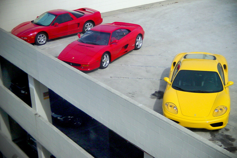 NSX, 355 GTS, and 360 Modena as viewed from the Dog House (without tourists)