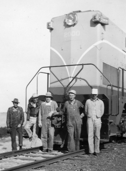 The Crew, April 1949. (left to right: Charles Wiley, Joe Shaff, Dan Porter, Nephi Gundarason, Bill Shaff) (Bill Shaff Collection)