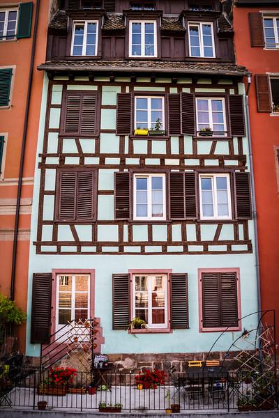 A typical Alsatian façade shot at the Petite France.