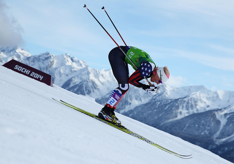 . Kikkan Randall of the United States competes in the Women\'s Team Sprint Classic Final during day 12 of the 2014 Sochi Winter Olympics at Laura Cross-country Ski & Biathlon Center on February 19, 2014 in Sochi, Russia.  (Photo by Julian Finney/Getty Images)