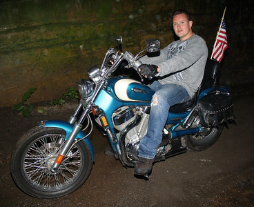 Motorcyclist Getting Out of the Rain, SR309, South Tamaqua (5-26-2012)