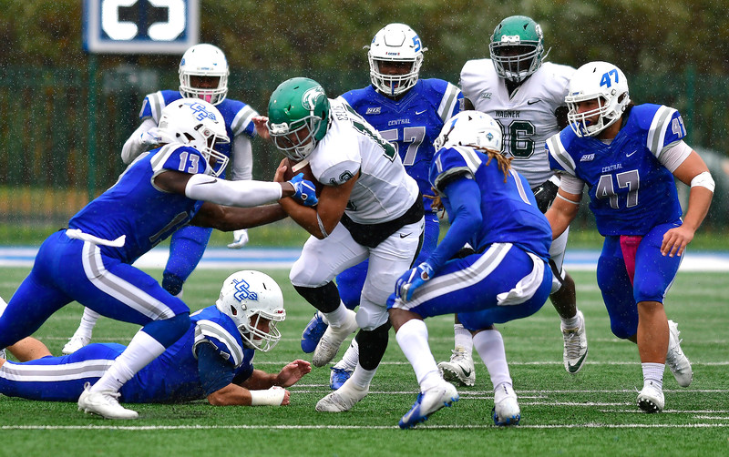 10/27/2018 Mike Orazzi | Staff Wagner's Andrew Celis (13) during Saturdays' football game in New Britain with CCSU.