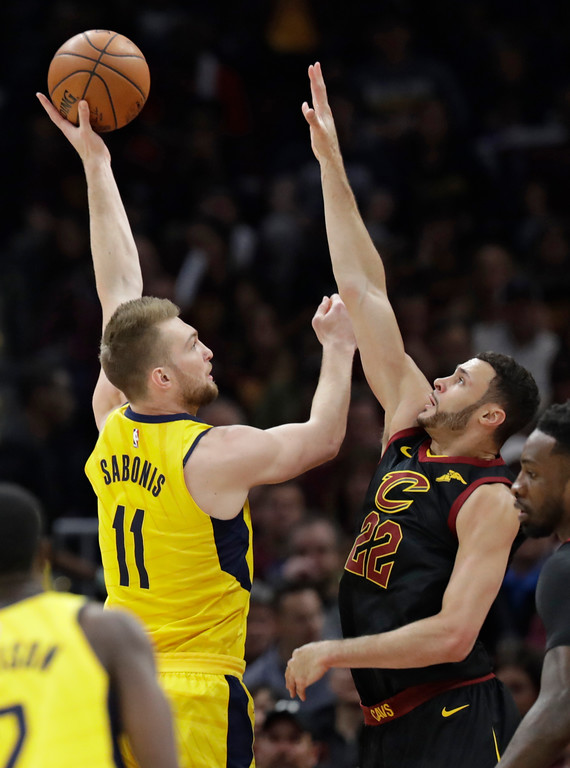 . Indiana Pacers\' Domantas Sabonis (11), from Lithuania, shoots over Cleveland Cavaliers\' Larry Nance Jr. (22) in the first half of Game 5 of an NBA basketball first-round playoff series, Wednesday, April 25, 2018, in Cleveland. (AP Photo/Tony Dejak)