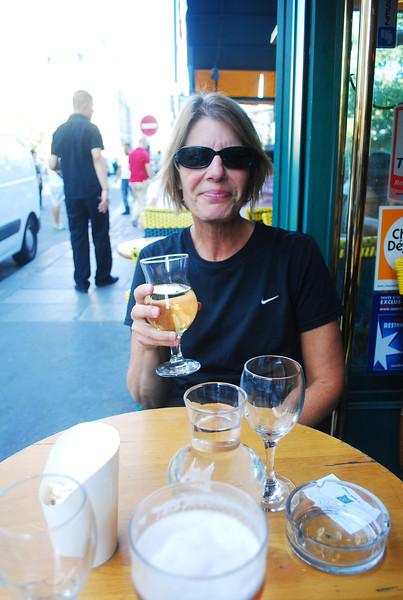Le Petit Pont cafe near Notre Dame for happy hour, Sunday.