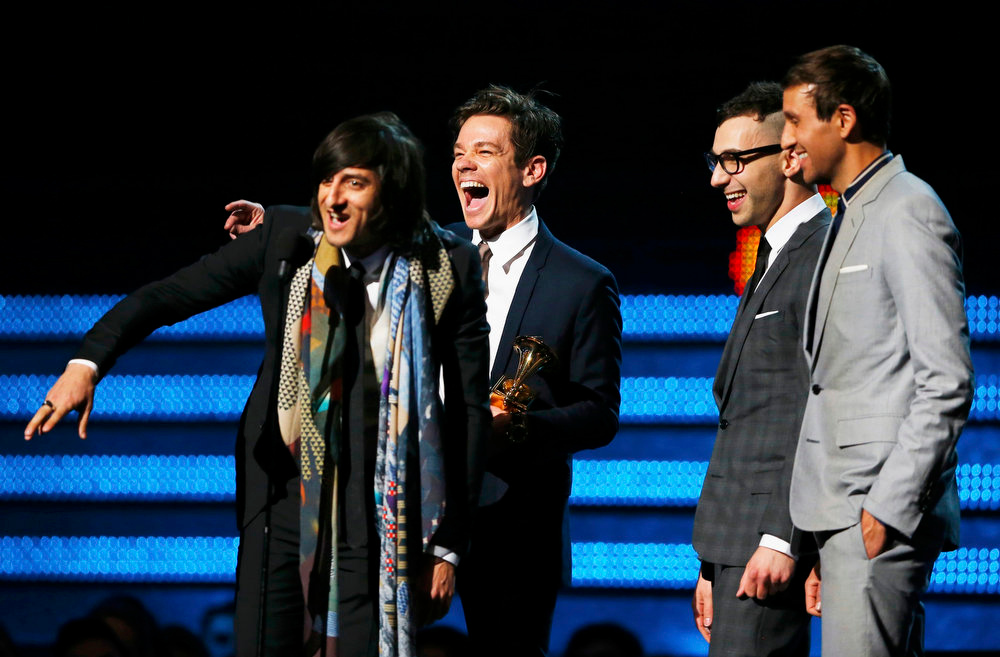 Description of . Nate Ruess (C) and Fun accept the Grammy award for song of the year for