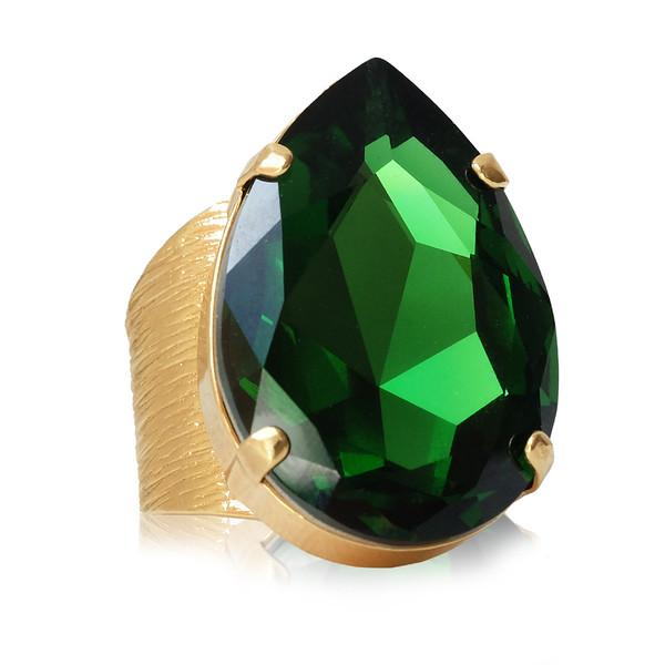Perfect Drop Ring / Dark Moss Green / Gold
