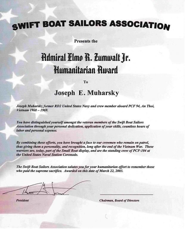 . Submitted <br> First  Admiral Zumwalt Humanitarian Award, Norfolk VA,  2004.