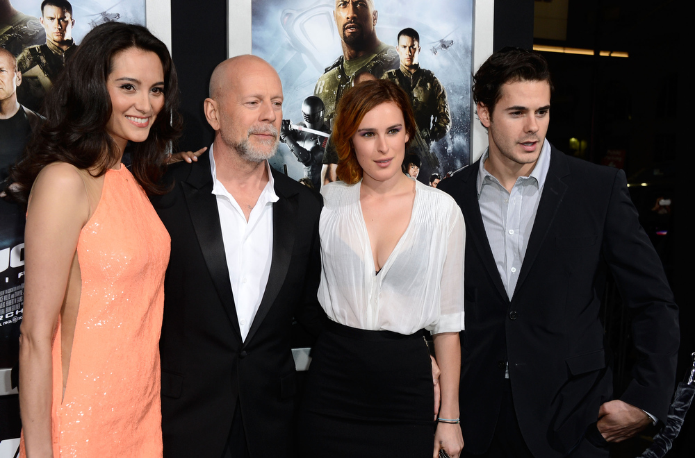 ". Emma Heming, actor Bruce Willis, Rumer Willis and Jayson Blair arrivesat the Premiere of Paramount Pictures\' ""G.I. Joe: Retaliation\"" at TCL Chinese Theatre on March 28, 2013 in Hollywood, California.  (Photo by Frazer Harrison/Getty Images)"