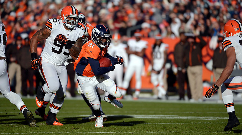 . Denver Broncos running back Ronnie Hillman (21) runs the ball during the first half.  The Denver Broncos vs Cleveland Browns at Sports Authority Field Sunday December 23, 2012. Joe Amon, The Denver Post