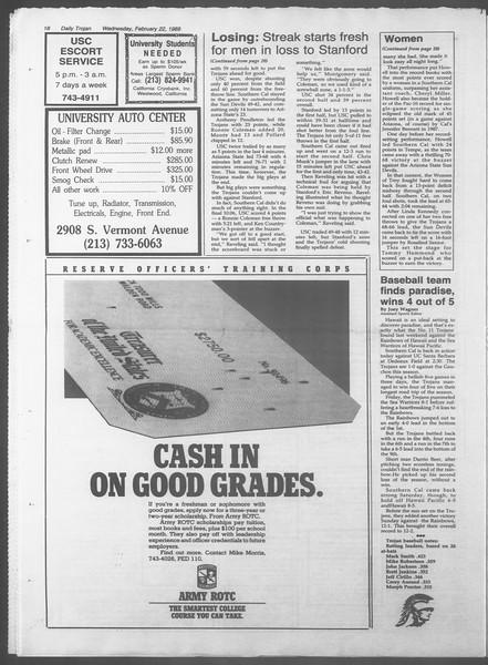 Daily Trojan, Vol. 108, No. 27, February 22, 1989