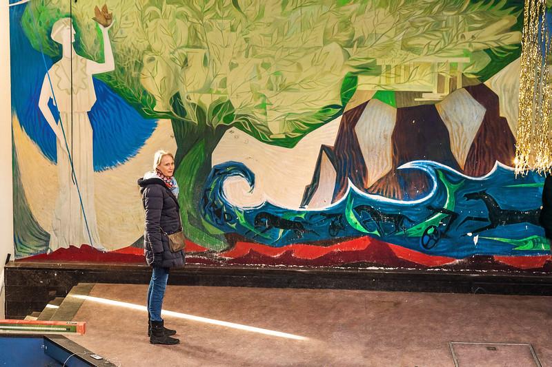 Muurschildering Haanstra aula HBS Zuideinde Meppel - Alma de Lange (tekenen). Foto: Wim Goedhart