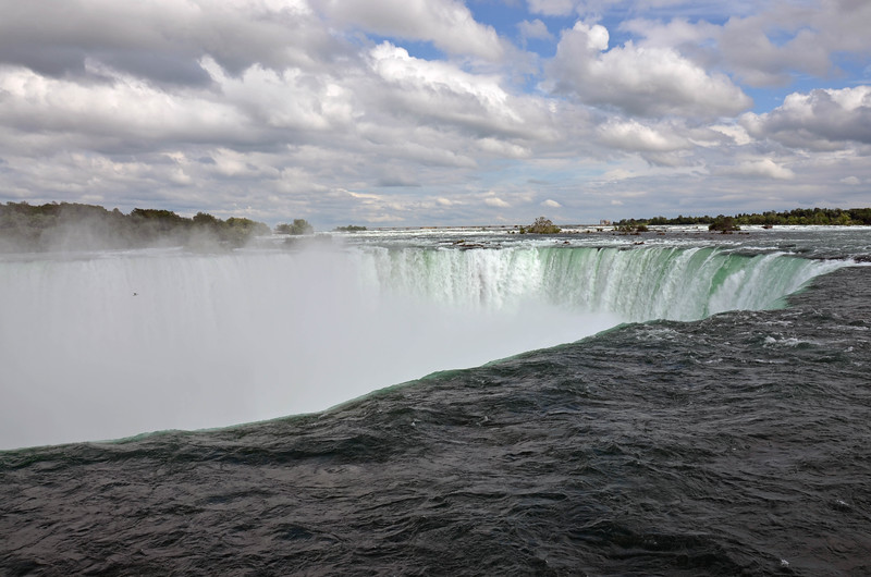 The Niagara River where it meets the falls