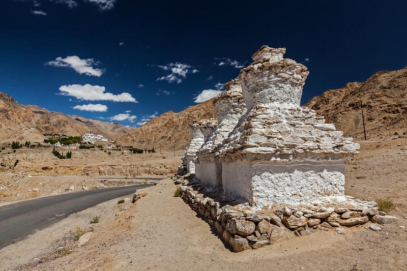 Whitewashed chortens near Likir monastery. Ladakh, India