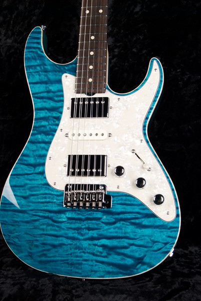 Bent Top #3631, Mahogany/Quilt Maple Top, Transparent Turquoise Finish, Grosh H/S/H pickups