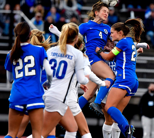 11/23/2019 Mike Orazzi | Staff Southington High School's Jessica Carr (4) during the Class LL Girls State Soccer Tournament at Veterans Stadium in New Britain Saturday evening. Glastonbury won 1-0.