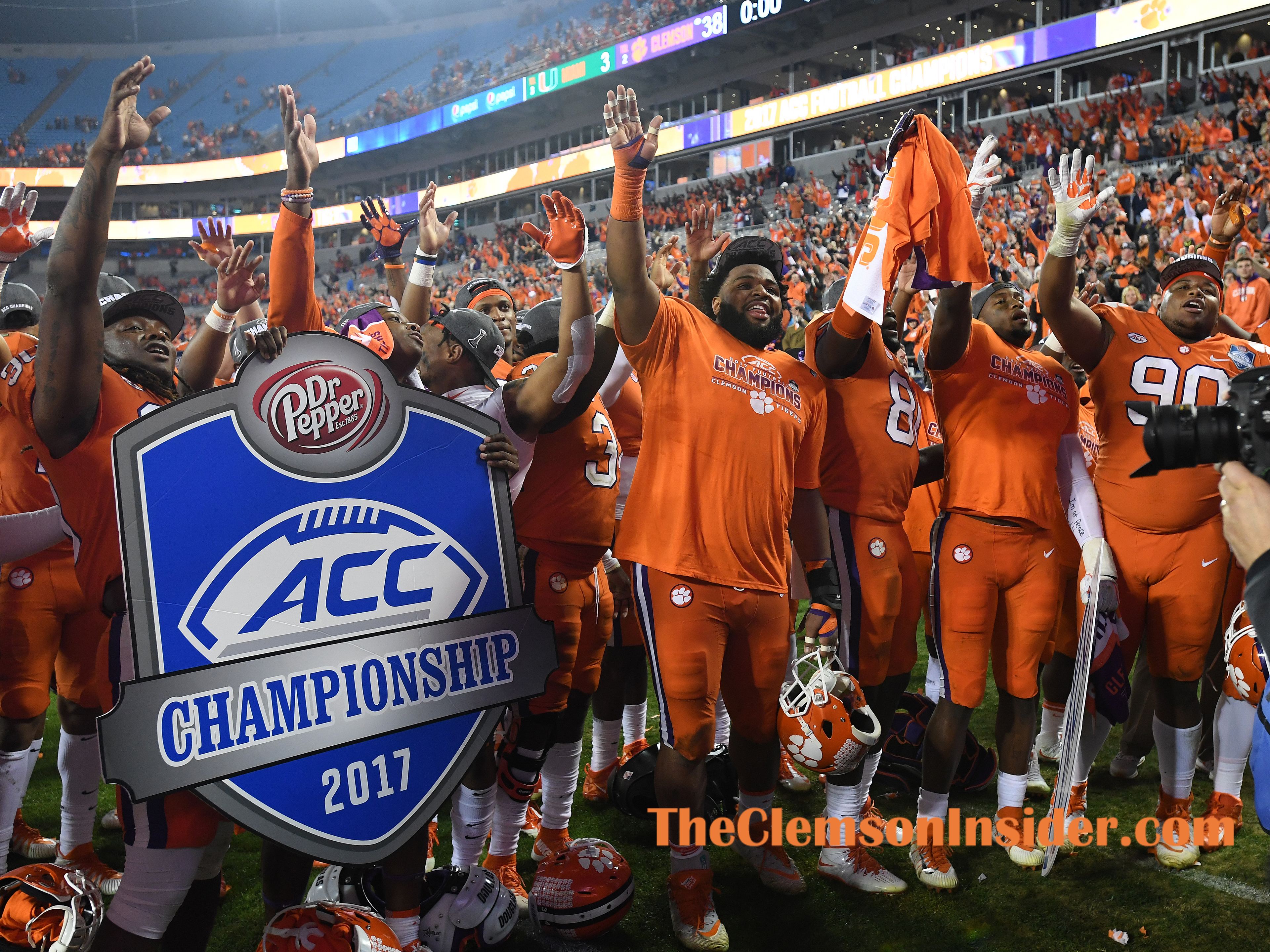 Clemson celebrates after the Tigers 38-3 win over Miami in the ACC championship game at Bank of America Stadium in Charlotte on Saturday, December 2, 2017.