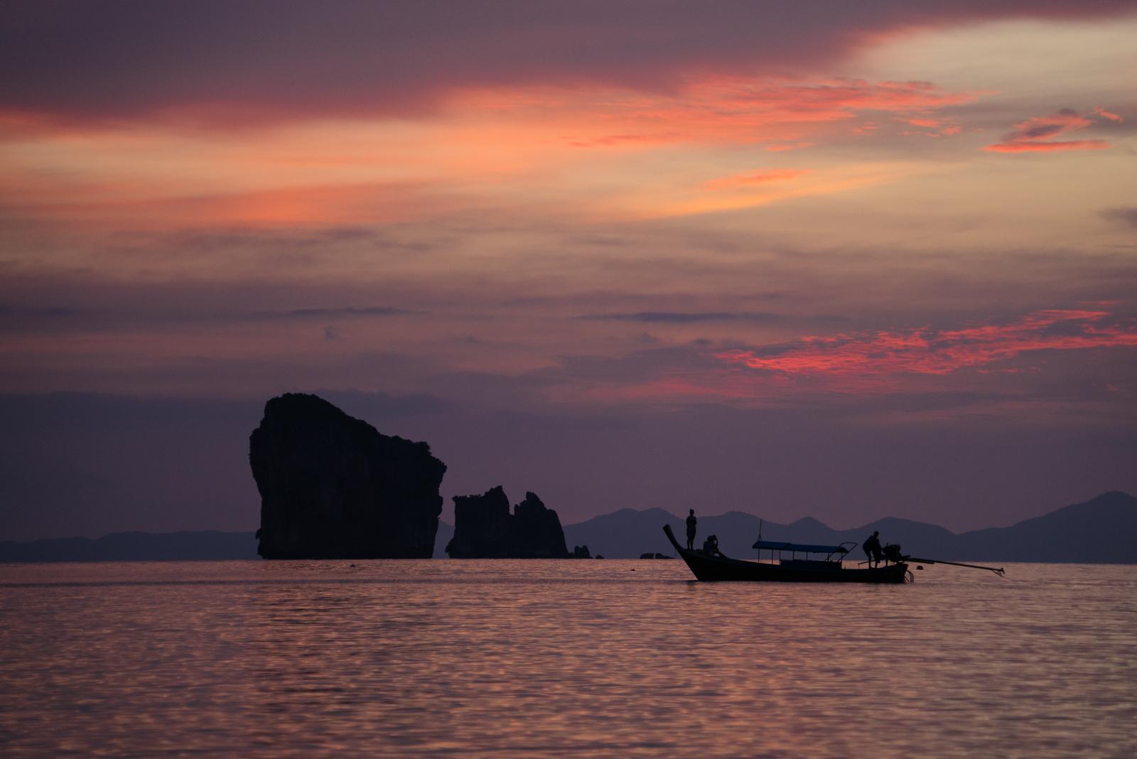 Krabi Sunset Purple Boat Standing