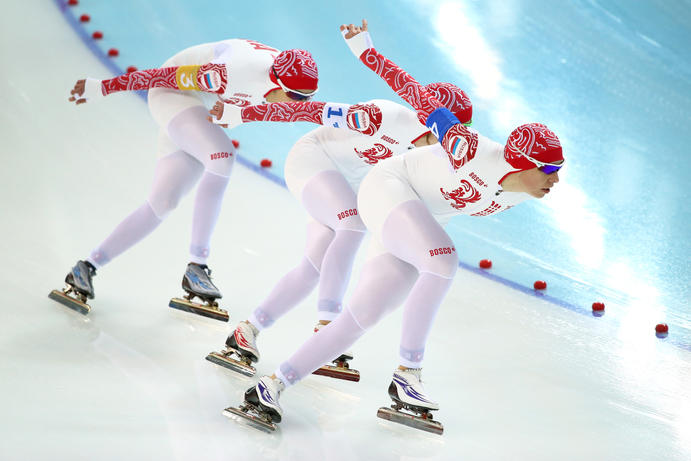 . Yekaterina Shikhova, Olga Graf and Yuliya Skokova of Russia compete during the Women\'s Team Pursuit Semifinals Speed Skating event on day fifteen of the Sochi 2014 Winter Olympics at  at Adler Arena Skating Center on February 22, 2014 in Sochi, Russia.  (Photo by Ryan Pierse/Getty Images)