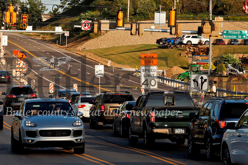 Traffic lines up Wednesday evening on Route 228 at the intersection with Pittsburgh St. and Warrendale Rd. Seb Foltz/Butler Eagle