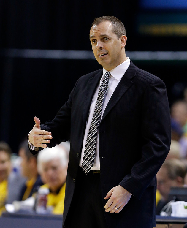 . Indiana Pacers coach Frank Vogel gestures during the first half of Game 2 of the NBA basketball Eastern Conference finals against the Miami Heat in Indianapolis, Tuesday, May 20, 2014. (AP Photo/Michael Conroy)