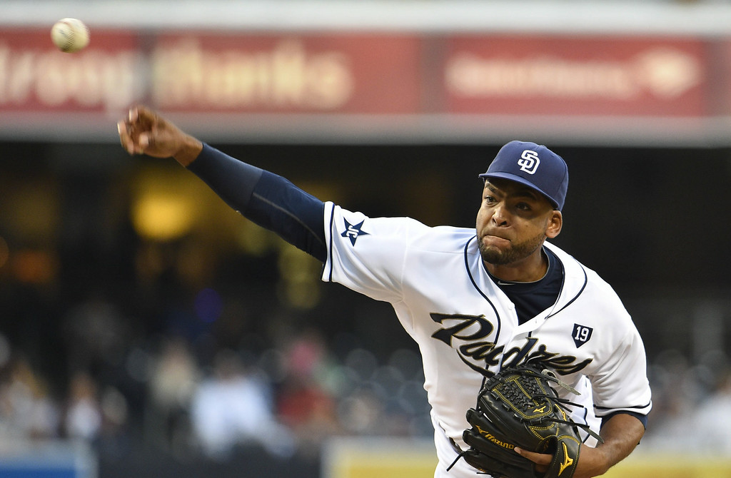 . SAN DIEGO, CA - AUGUST 12:  Odrisamer Despaigne #40 of the San Diego Padres pitches during the first inning of a baseball game against the Colorado Rockies at Petco Park August, 12, 2014 in San Diego, California.  (Photo by Denis Poroy/Getty Images)