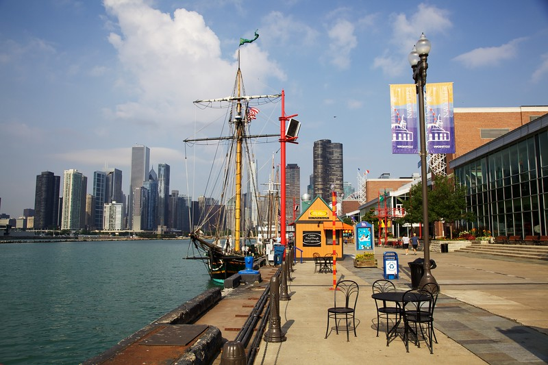 The Friends Good Will docked at Navy Pier with downtown Chicago in the background.