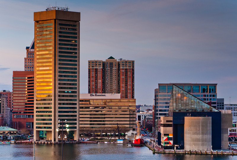View of the Inner Harbor from Federal Hill in Baltimore, Maryland.