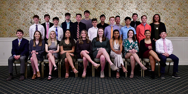 3/28/2019 Mike Orazzi | Staff Bristol Central High School students honored as scholar athletes by the Bristol Sports Hall of Fame at Nuchie's on Thursday night.