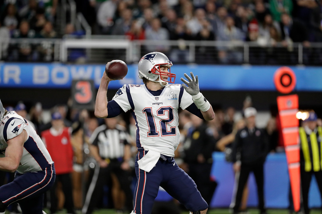 . New England Patriots\' Tom Brady passes during the first half of the NFL Super Bowl 52 football game against the Philadelphia Eagles Sunday, Feb. 4, 2018, in Minneapolis. (AP Photo/Mark Humphrey)