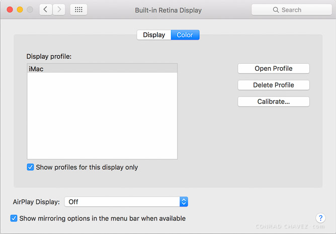 Default display profile for iMac (Late 2015) when showing only profiles for this display