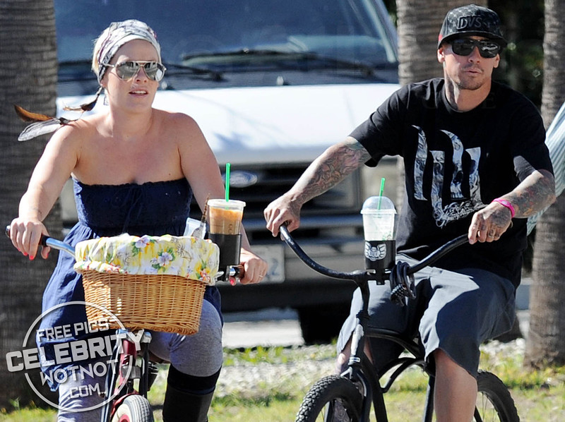 EXC: P!NK Starbucks Cycle Ride With Hubby Carey Hart