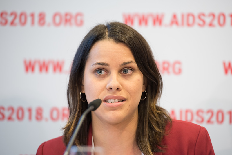 22nd International AIDS Conference (AIDS 2018) Amsterdam, Netherlands   Copyright: Marcus Rose/IAS  Photo shows: Press Conference: Sub-Saharan Africa: New Insights, New Impact. Aleya Khalifa Statistics Officer, HIV/AIDS, UNICEF