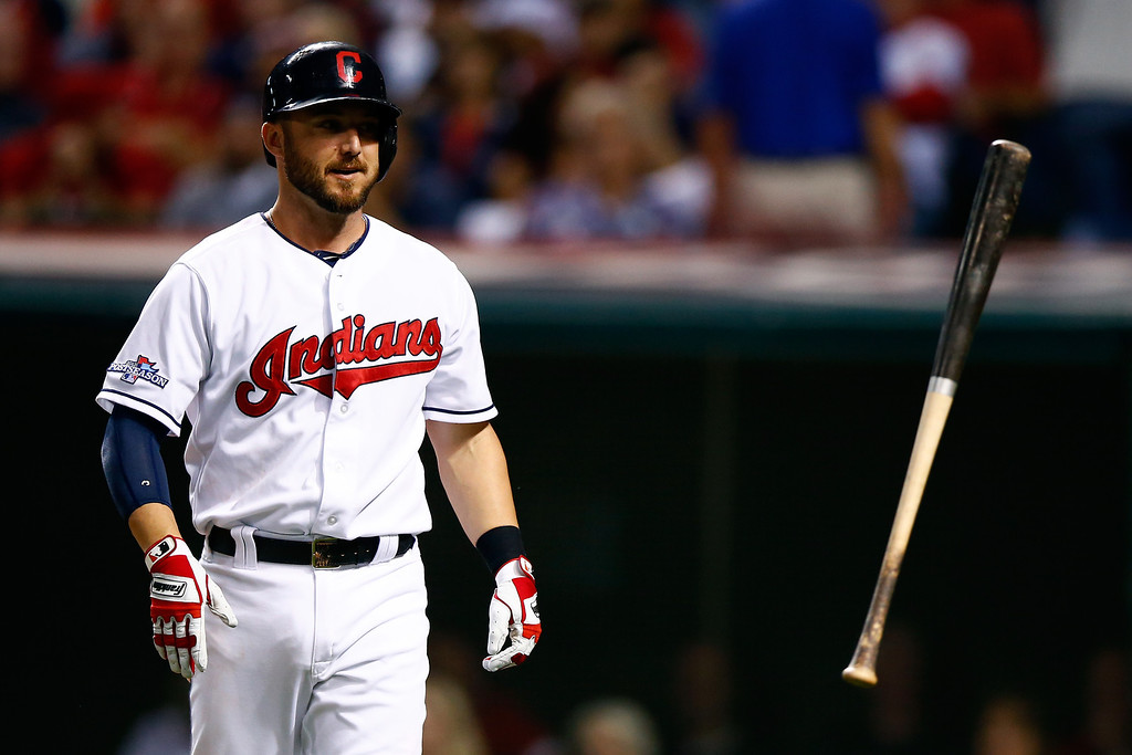 . CLEVELAND, OH - OCTOBER 02:  Ryan Raburn #9 of the Cleveland Indians reacts after striking out in the eighth inning against the Tampa Bay Rays during the American League Wild Card game at Progressive Field on October 2, 2013 in Cleveland, Ohio.  (Photo by Jared Wickerham/Getty Images)