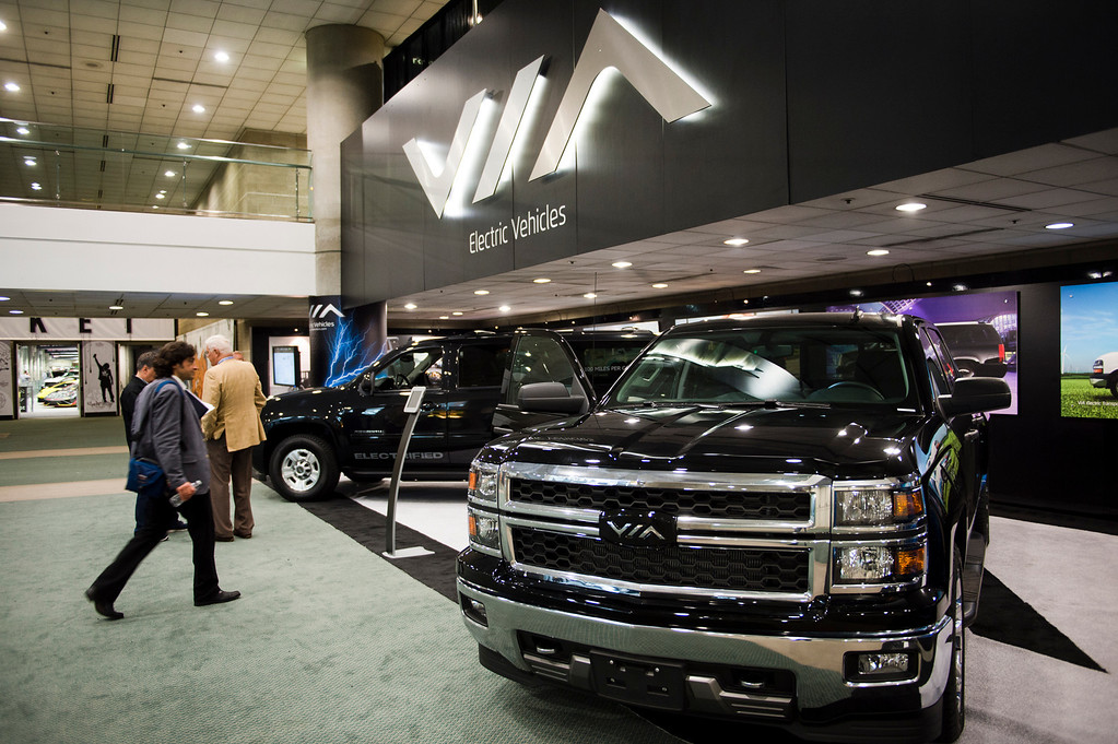 . VIA Motors electric-solar-powered pickup truck at Los Angeles Auto Show on Wednesday, Nov. 20, 2013, in Los Angeles. (Photo by Watchara Phomicinda/San Gabriel Valley Tribune)